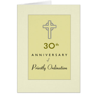 Custom Anniversary Year 30, of Priest with Embosse Card