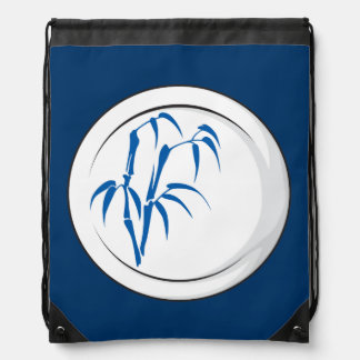 Custom Antique Fine China Plate Dinnerware Buttons Drawstring Backpacks