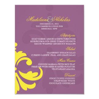 Custom antique fuchsi banana yellow damask wedding card