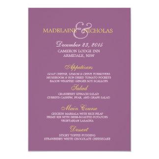 Custom antique fuchsia modern wedding menu card