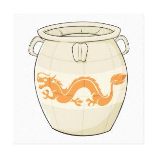 Custom Antique Oriental Chinese Vase Jar Invites Stretched Canvas Prints