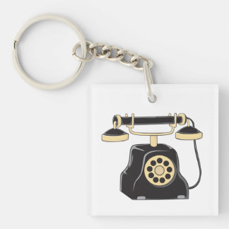 Custom Antique Rotary Dial Telephone Collector Mug Double-Sided Square Acrylic Keychain