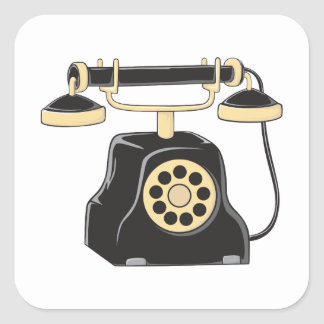Custom Antique Rotary Dial Telephone Collector Mug Square Sticker