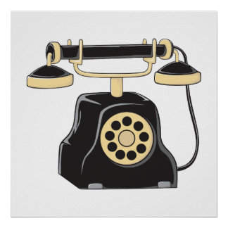 Custom Antique Rotary Dial Telephone Collector Pin Poster
