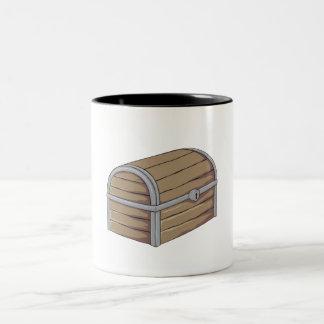 Custom Antique Wooden Pirate Treasure Chest Button Two-Tone Coffee Mug