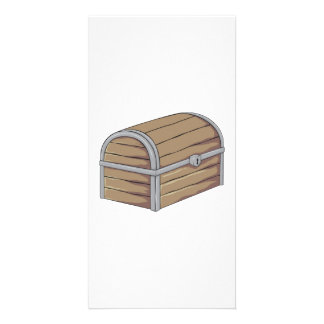Custom Antique Wooden Pirate Treasure Chest Cards Personalized Photo Card
