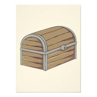 Custom Antique Wooden Pirate Treasure Chest 5.5x7.5 Paper Invitation Card