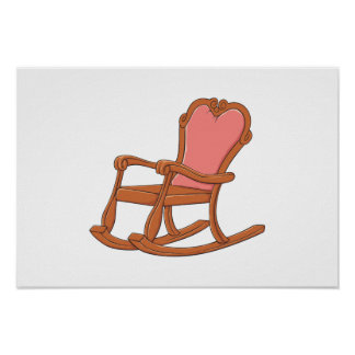 Custom Antique Wooden Rocking Chair Greeting Cards Print