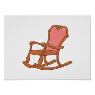 Custom Antique Wooden Rocking Chair Greeting Cards Poster