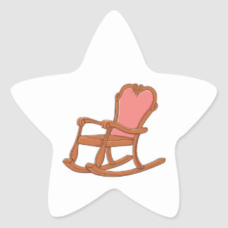 Custom Antique Wooden Rocking Chair Mugs Buttons Star Sticker