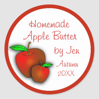Custom Applesauce or Apple Butter Labels Classic Round Sticker