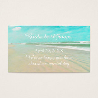 Custom Aqua Beach Wedding Favor Tag