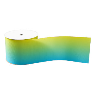 Custom Aqua Blue Ombre Grosgrain Ribbon