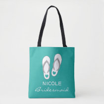 Custom aqua blue sandals beach wedding tote bags