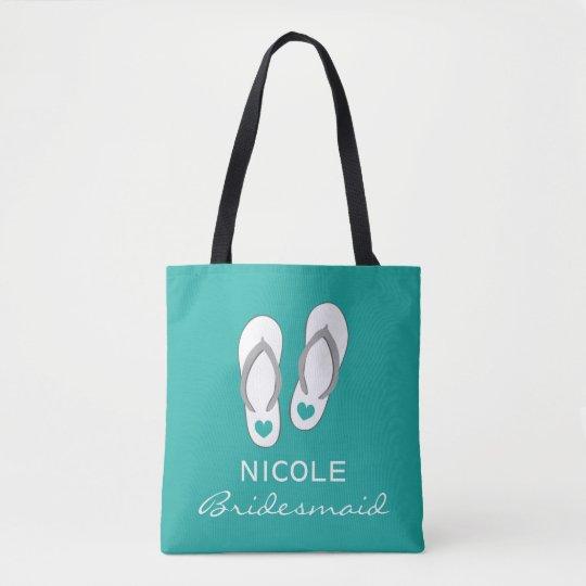 0860d356a43be Custom aqua blue sandals beach wedding tote bags