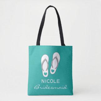 Custom aqua blue sandals beach wedding tote bags tote bag