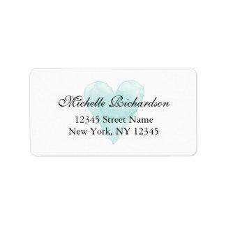 Custom aqua blue watercolor heart address labels