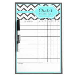 Custom Aqua Chevron Chore Chart Dry Erase Board