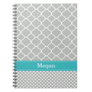 Custom Aqua Gray Quatrefoil Polka Dots Notebook