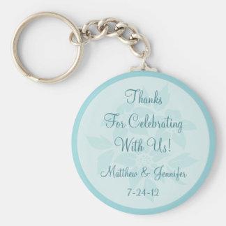 Custom Aqua Keychain Wedding Favor Keepsake Gift