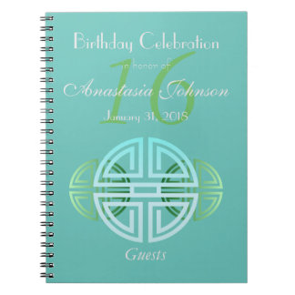 Custom Aqua Mint Longevity Motifs Birthday Guests Notebook