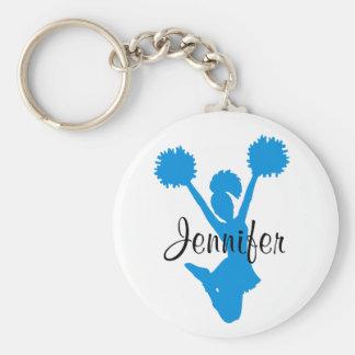 Custom Aquamarine Cheerleader Key Chain
