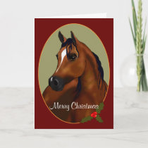 Custom Arabian Horse Christmas Cameo Card