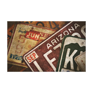 Custom Art Antique License Plates Gallery Wrap Canvas