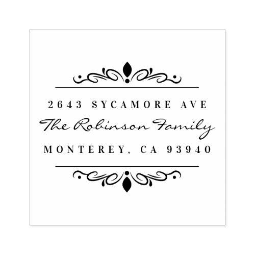 Custom Art Deco Ornament Family Return Address Rubber Stamp