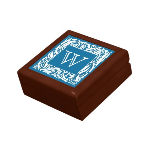 Custom Art Nouveau Border Monogram Trinket Box