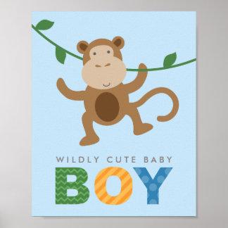 Custom Art Print for Baby   Monkey for Boy