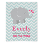 Custom Art Print for Baby | Pink and Gray Elephant