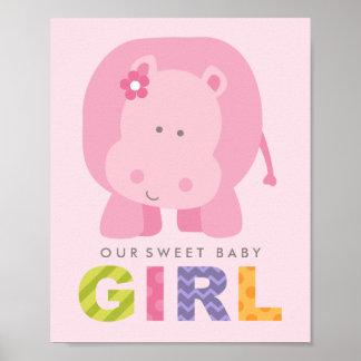 Custom Art Print for Baby   Pink Hippo Girl