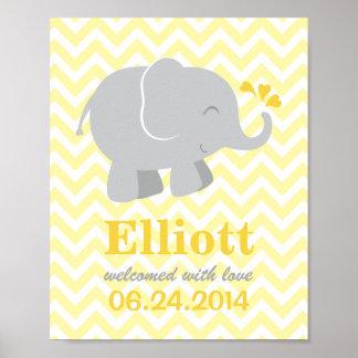 Custom Art Print for Baby   Yellow Gray Elephant