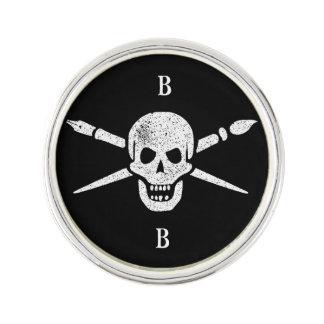 Custom Artist Brush and Bones Lapel Pin