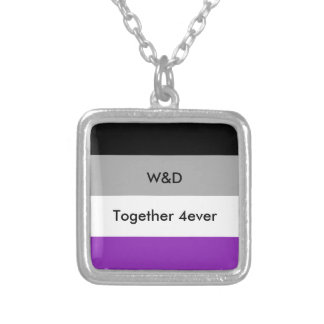 Custom Asexual Pride Flag Silver Plated Necklace