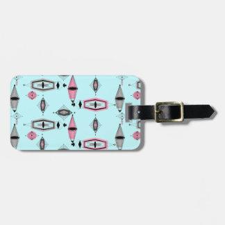 Custom Atomic Pink & Grey Pattern Luggage Tag