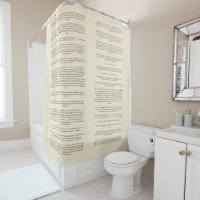 Custom Author Book Excerpt Text Shower Curtain