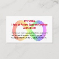 Custom Autism Alert Cards For Organisation/Group