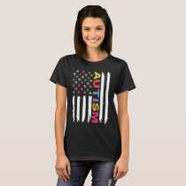 Custom Autism Awareness America Flag Hanes Tagless T-Shirt