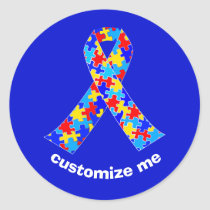 Custom Autism Awareness Ribbon Classic Round Sticker