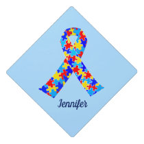 Custom Autism Awareness Ribbon Graduation Cap Topper