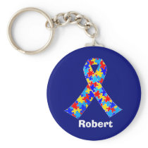 Custom Autism Awareness Ribbon Keychain