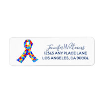 Custom Autism Awareness Ribbon Label