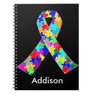 Custom Autism Awareness Ribbon Spiral Notebook