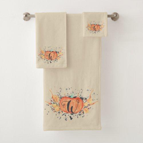 Custom Autumn Monogram Watercolor Pumpkin Bath Towel Set