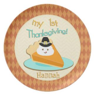 Custom Autumn Pumpkin Pie Baby's 1st Thanksgiving Plate