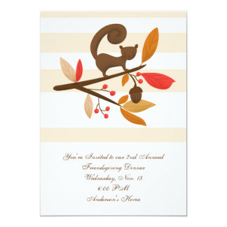 Custom Autumn Squirrel Friendsgiving Invitation