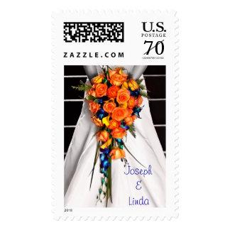 Custom Autumn Wedding Orange Roses Bridal Postage