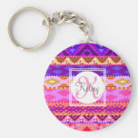 Custom Aztec Girly Monogram Basic Round Button Keychain